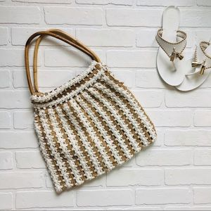 Macrame Style Wooden Top Handle Purse